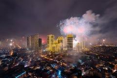 Fierworks em Manila Foto de Stock