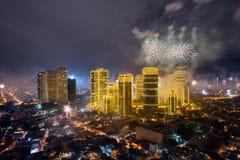 Fierworks em Manila Fotos de Stock Royalty Free