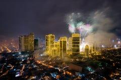 Fierworks em Manila Fotografia de Stock