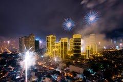 Fierworks em Manila Foto de Stock Royalty Free