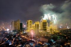 Fierworks em Manila Fotos de Stock