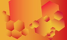 Fiery abstract background full of various hexagons royalty free illustration