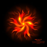 Fiery abstract. Background. The turning tongues of flame on a black substrate. A revolving object from fire clots. Wall-paper on a desktop. Vector illustration Royalty Free Stock Images
