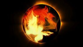 Fiery abstract Sphere on black