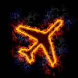Fiery Airplane. Airplane symbol, covered in flames Royalty Free Stock Images