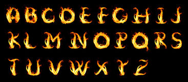 Fiery alphabet. Isolated on a black Royalty Free Stock Photography