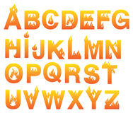 Fiery Alphabets Vector Font Set. Fire inspired design vector fonts. Complete set of alphabets in uppercase  on white background Stock Photos