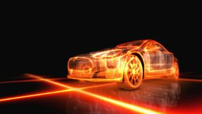 Fiery appearance of the machine. Abstract 3d fiery appearance of the car on black background Stock Photography