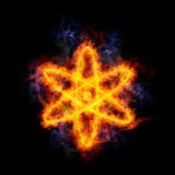 Fiery atom. Atom symbol, covered in flames Stock Images