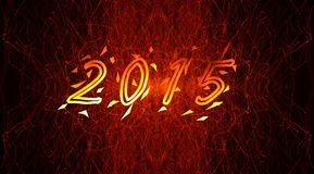2015 on fiery background Stock Photo