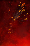 Fiery background and explosions. Abstract illustration of explosive trails with smoky red background Royalty Free Stock Photo