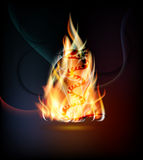 Fiery background with snake. Symbol of a snake in a fiery tree Stock Images
