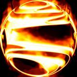Fiery ball. Illustration of sphere on fire Stock Images