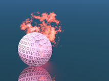 Fiery ball. Good deciding for the final composition of the topic of digital technologies and all that is  connected with computer Royalty Free Stock Image