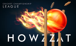 Fiery Ball for Cricket Championship League concept. Creative fiery ball hit the wicket stumps with stylish text Howzzat for Cricket Championship League concept Royalty Free Stock Photo
