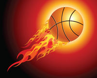 Fiery basketball ball. Flying upwards on a black background Stock Photo