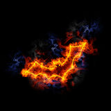 Fiery bat. Flying bat, covered in flames Royalty Free Stock Image