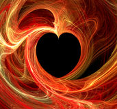 Fiery Black Heart Fractal. Heart fractal with black heart in the middle, surrounded by tangle of fiery colors of red, orange yellow and white.  Computer Stock Photos