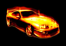 Fiery Blazing Sports Car. Abstract illustration of a fiery sports car isolated over black Stock Image