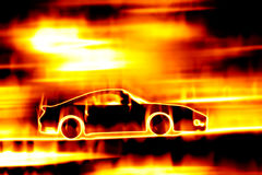 Fiery Blazing Sports Car. Abstract illustration of a sports car speeding through a burning fire Royalty Free Stock Photo