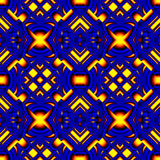 Fiery blue seamless pattern. Stylized like stained glass in the form of different elements stacked rhombus with refraction and reflection of light Stock Images