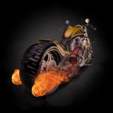 Fiery burning motorbike conceptual image with flames erupting fr Royalty Free Stock Photos