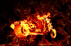 Fiery burning motorbike with flames around it, over a dark background Stock Photo