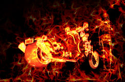 Fiery burning motorbike and skeleton with flames around them Royalty Free Stock Photos