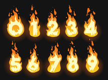 Fiery burning numbers set. Set of burning fiery numbers for hot offers, discounts and global warming or summer themes Stock Images