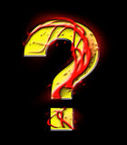 Fiery, burning question mark. Fiery, burning question mark on a black background Stock Images