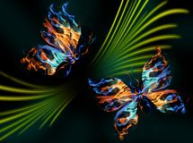 Fiery butterflies. Dancing butterflies on an abstract glade Stock Image