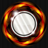 Fiery button. Abstract background with metal button and fiery circle Stock Photography
