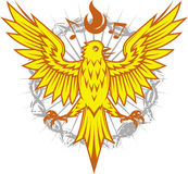 Fiery Canary. A yellow song bird with notes and flames Stock Photography