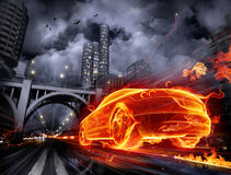 Fiery car. On road in a city at night