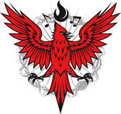 Fiery Cardinal. Emblem of a cardinal with flames and music notes Royalty Free Stock Photography