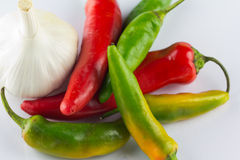 Fiery Chillies and aromatic Garlic Stock Photo