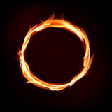 Fiery circle of flames on dark background. Place for your message. Vector illustration Royalty Free Stock Images