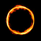 Fiery circle with free space in center. On black background Stock Images