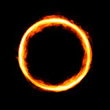 Fiery circle with free space in center. Isolated on black background Royalty Free Stock Photo