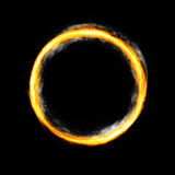 Fiery circle with free space in center. Isolated on black background Stock Photo