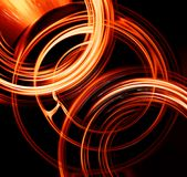 Fiery circles. Abstract fiery circles on a dark background Royalty Free Stock Photo