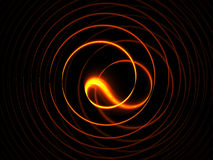 Fiery circular motions on black background. Abstract illustration of dynamic linear fiery circular motion on black background Royalty Free Stock Photo