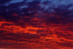 Fiery clouds after sunset over the sea. Royalty Free Stock Image