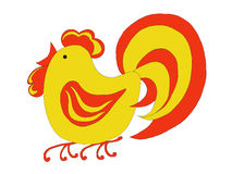 Fiery cock. Drawing red-yellow rooster, symbol of the new year Royalty Free Stock Images