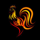Fiery Cock. For New Year's decoration Stock Photo