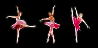 Fiery colorful ballerina ssilhouette isolated. Fiery colorful ballerinas silhouette, isolated on black Stock Photo