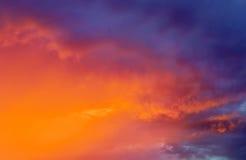 Fiery colorful sunset sky. Stock Photos