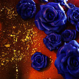 Fiery colors, glitter and floral decoration stock photo