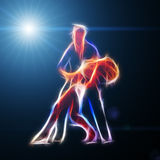 Fiery couple dancing in light illustration. Computer generated abstract background, 3d render Stock Photo