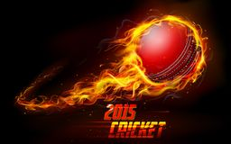 Fiery cricket ball. Illustration of fiery cricket ball in abstract background Stock Photography